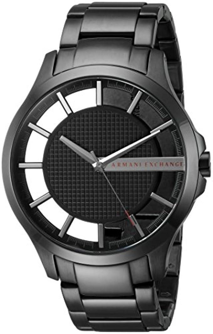 A|X Armani Exchange Men's Black IP Stainless Steel