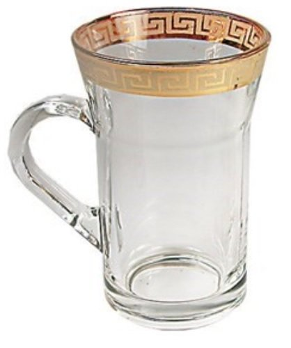 Middle Eastern Classic Gold Rim Trim Design Chai Tea Glass Cup 6-Piece Set 10-oz