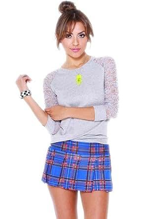 G2 Fashion Square Women's Blue/Red Plaid Pleated Mini Skirt(BTM-SKT,BLU-S)