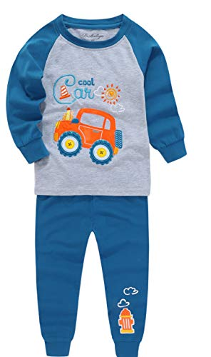 Eye Popping Kids & Toddler Longs Sleeve Pajamas Boys Girls Unisex 2 Piece Pjs Set 100% Cotton Sleepwear (Cool Cars - Embroidered, 6T)