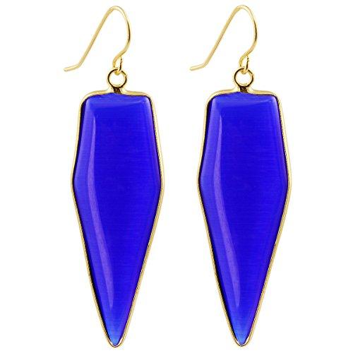 SUNYIK Women's Blue Glass Healing Point Dangle Earrings -