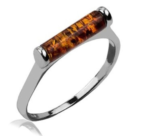 - Amber and Sterling Silver Barrel Ring