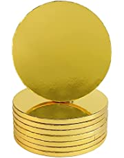 8-Pack 10 inch Gold Cake Boards Cake Drums,Sturdy Round Cakeboard Plate Drum for Birthday Cake Greaseproof Foil Professional Smooth Circle Display Base,1/2 inch Thick