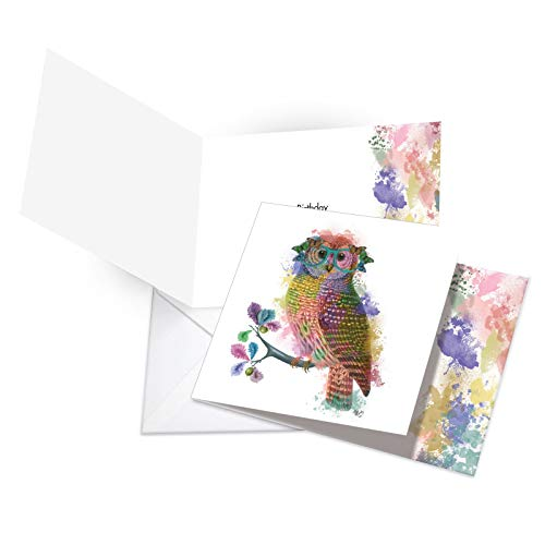 "New Square-Top Birthday Greeting Card: Funky Rainbow Wildlife-Owl Featuring Hipster-Like Image of Owl with Colorful Paint Splotches, with Envelope (Size: 4 æ"" x 6 5/8"") CQ4948BBDG-US"