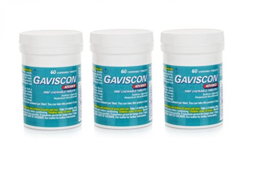 (Gaviscon Advance Chewable 60 Tablets Peppermint Pack of 3)