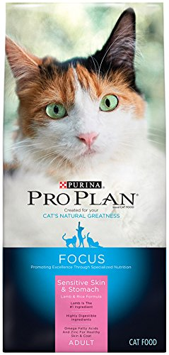 Purina Pro Plan Dry Cat Food Focus Adult Sensitive Skin and Stomach Lamb and Rice Formula 16-Pound Bag Pack of 1