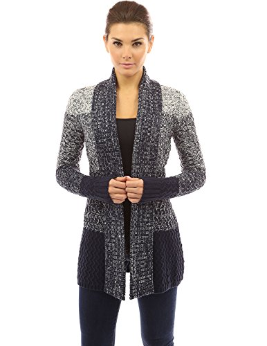 PattyBoutik Women's Gradient Color Marled Cardigan (Navy Blue and White L) - Marled Knit Cardigan
