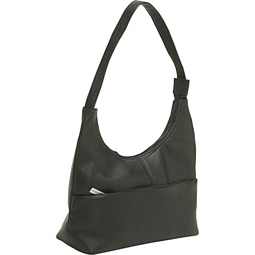 Le Donne Leather Top Zip Hobo (Black) ()