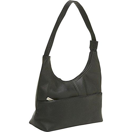 le-donne-leather-front-zip-hobo-black