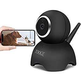 TOOGE WiFi Dog Pet Camera FHD Pet Monitor Indoor Home Cat Camera for Baby Elder Nanny with Night Vision 2-Way Audio Motion Detection (Black)