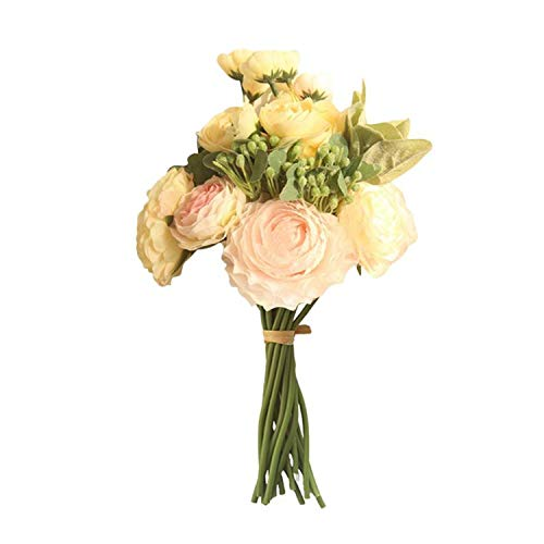 Artificial Flowers Persian Buttercup Crowfoot Ranunculus Wedding Bride Hand Tied Bouquet Home Decoration Flowers,Light Pink