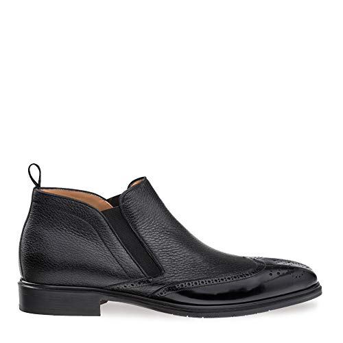Mezlan Bexley - Mens Luxury Contemporary Wing Tip Ankle Boot - Exquisite Shiny Calfskin and Deerskin with Accented Toe - Handcrafted in Spain - Medium Width (9, ()