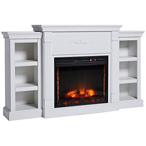 HOMCOM Electric Fireplace Freestanding 1400W Artificial Flame Effect with Detachable Side Cabinets, Wood, Cream White