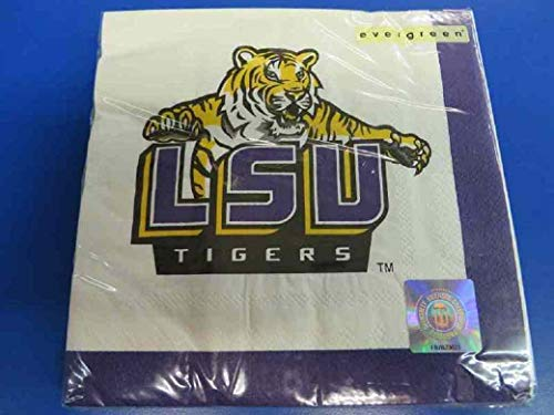 Lsu Tigers Beverage - LSU Tigers NCAA Napkins Football Game Day Sports Themed College University Party Supply NFL SEC Basketball Napkins for Beverage for 20 Guests Yellow Purple Paper Napkins