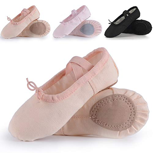 Ruqiji Ballet Shoes for Girls/Toddlers/Kids, Black Canvas Ballet Shoes/Pink Ballet Slippers/Dance -