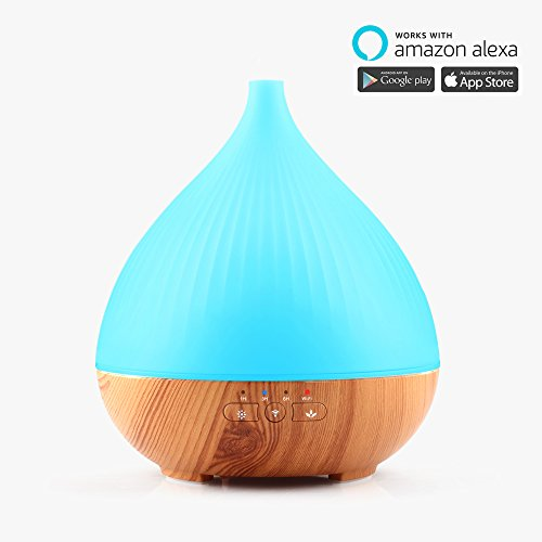 iDOO Smart Wi-Fi Essential Oil Diffuser, Works with Amazon Alexa, 300ML Wood Grain Cool Mist Aroma Humidifier with 7 Colored LED Lights, 3 Timer Settings and Waterless Auto Shut-Off Function
