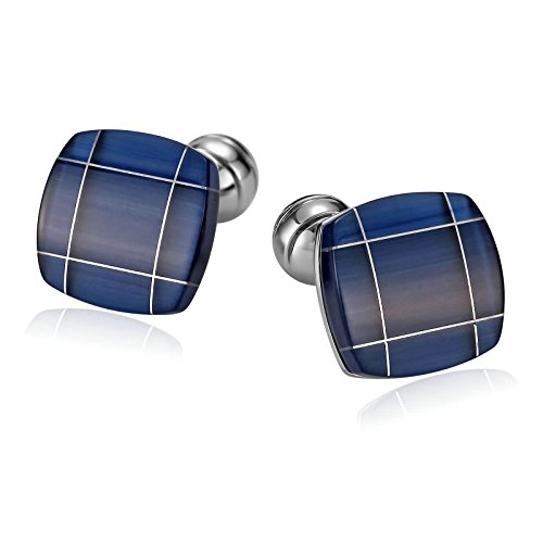 Daesar Stainless Steel Cuff Links Square Enamel Opal Stone Blue Mens Cuff Link For Business
