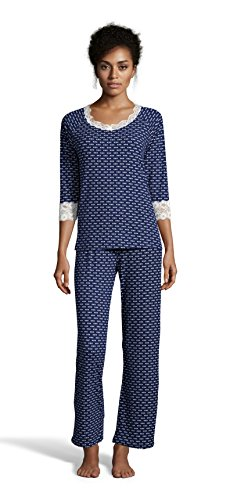 Kathy Ireland Women's Lounge Shirt and Pants Pajama Set With Decorative Bow Hale Navy Large