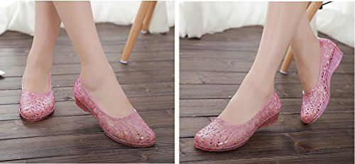 Crystal Clear Shoes Out Pink Women Cut Heel Plastic Flat Low Jelly RdUwxT