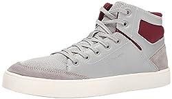 CK Jeans Men's Lanier Leather Fashion Sneaker, Grey/Oxblood, 11 M US