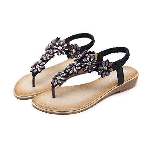 Sandals Amazing Toe Post Sling Back Flower Fashion Flat Size 3-8 Black (Size : EU40/UK7/CN41)