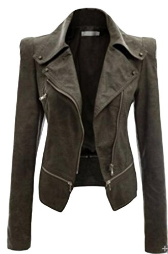 amp;S amp;W Coat Army Slim Zipper Jackets Closure Women's Leather Lapel Green M Sd146Wd