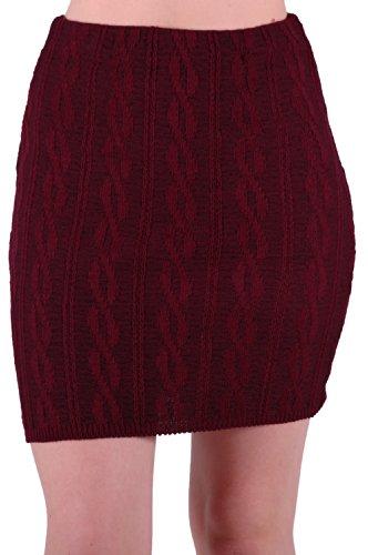 EyeCatch - Jupe stretch en lainage tress - Femme - Taille Unique Du Vin