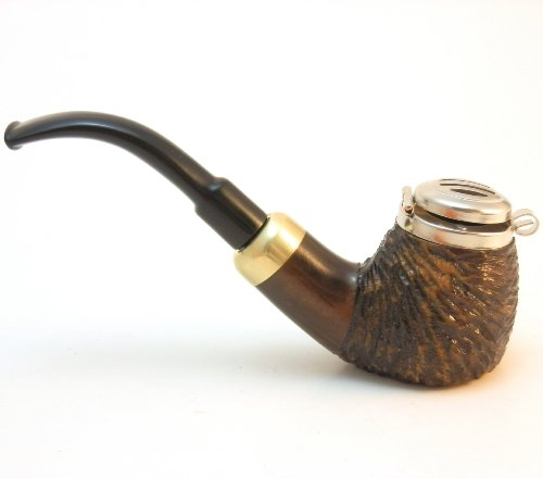 Mr. Brog Full Bent Smoking Tobacco Pipe - Model No: 21 Old Army Walnut Rusticated - Pear Wood Roots - Hand (Antique Smoking Pipes)