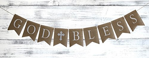 GRAY/SILVER Communion Party Banner, Baptism Decoration. God Bless Banner Christmas Party Invitation Wording Religious