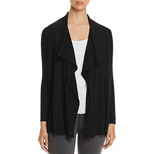 Eileen Fisher Womens Petites Ribbed Knit Flutter Cardigan Sweater Black (Eileen Fisher Wool Cardigan)