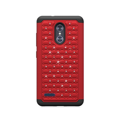 ZTE Blade X Max (Cricket Wireless) Case, Phone case for Walmart Family Mobile ZTE ZMAX PRO/ZTE ZMax Pro Case, Studded Rhinestone Crystal Bling Cover Case (Red) (Family Mobile Zte Zmax Cases)