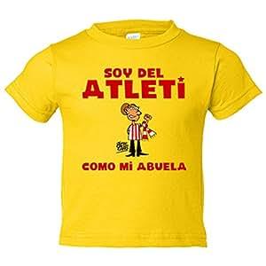 Camiseta niño Atlético de Madrid soy del atleti como mi abuela - Amarillo, 3-4 años