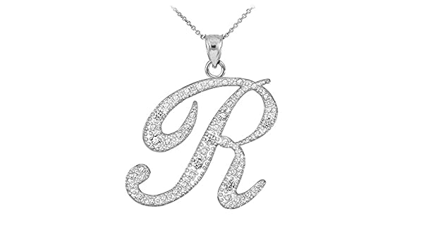 TrioStar 18k White Gold Plated 925 Silver Letter Script I Simulated Diamond Initial Pendant /& Necklace for Womens