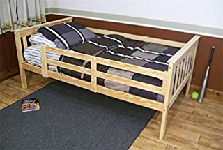 product image for Amish Kids Twin Mission Bed with Safety Rails (Unfinished Pine)