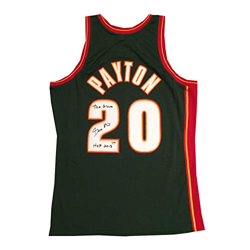 Gary Payton Autographed Seattle SuperSonics Mitchell and Ness Authentic Swingman Signed Basketball Jersey HOF Glove PSA DNA COA