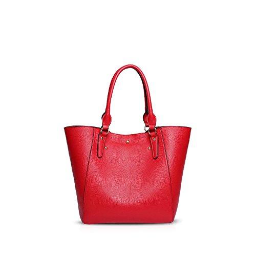 NICOLE&DORIS Elegante Tote Bolsos de Mano para Mujer Monederos Bolso Crossbody Mujer Bolso de Bandolera 2PCS Bolsa Grande Impermeable PU Marrón Rojo