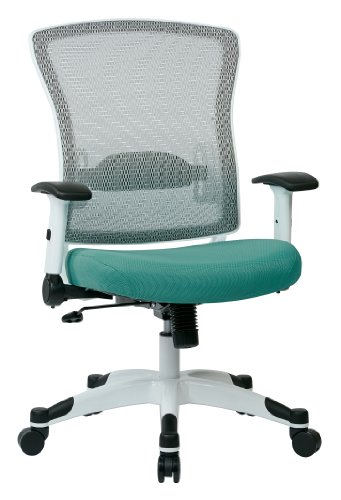 SPACE Seating Breathable Mesh Back and Padded Mesh Seat, Adjustable Arms, Tilt Tension and Lumbar Support with White Coated Nylon Frame Managers Chair, Jade Green ()