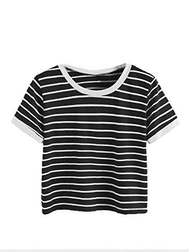 3b14c8c88ea SweatyRocks Women s Short Sleeve Striped Crop T-Shirt Casual Tee Tops Black  S