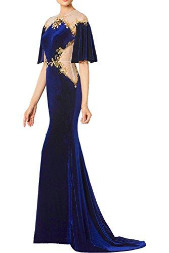 Damen Tuell Promkleider Stickerei Halbarm Rundkragen mit Lang Ballkleider Partykleider Elegant Ivydressing Samt Fuchsia Abendkleider dq70dt