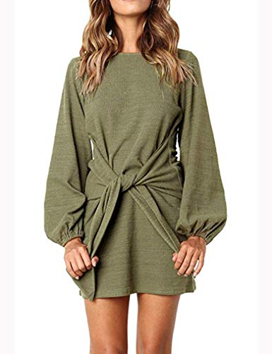 (Tobrief Women's Autumn Dress Elegant Puff Sleeve Front Tie Bodycon Sweater Dress(Army Green,M))