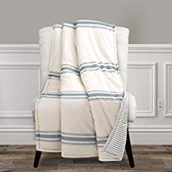 Bedroom Lush Decor, Blue Farmhouse Stripe Throw Blanket, 60″ x 50″ farmhouse blankets and throws
