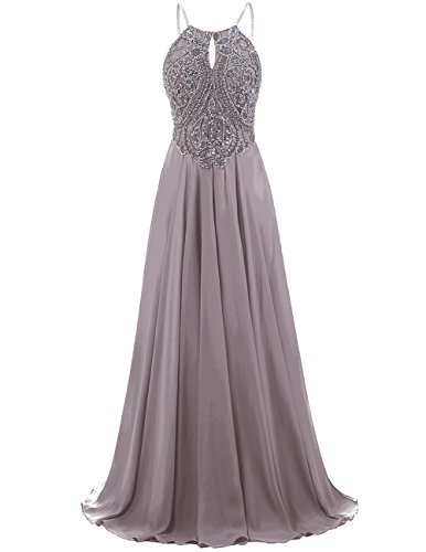 DRESSTELLS Long Prom Dress Halter Chiffon Dress Beaded Evening Party Gown Grey Size 2