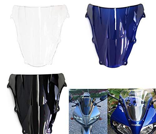 Motor Double Bubble WindScreen Autobike Wind Screen Windshield Wind Deflectors Motorcycle screen Airflow Fit For Suzuki SV650 SV650S SV1000 SV1000S 2003-2010 (Blue)