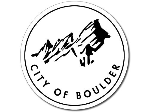 American Vinyl Round City of Boulder Seal Sticker (Colorado co Logo rv Travel Hike) ()