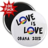 OBAMA Supports Same-Sex Marriage Love is Love LGBT Rainbow 100-Pack of 2.25 inch Fridge Locker Magnets