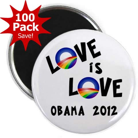 OBAMA Supports Same-Sex Marriage Love is Love LGBT Rainbow 100-Pack of 2.25 inch Fridge Locker Magnets by Stare At Me