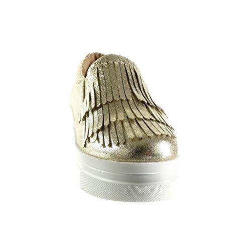 Angkorly - damen Schuhe Mokassin - Slip-On - Plateauschuhe - Franse - Patent Keilabsatz high heel 5.5 CM - Gold