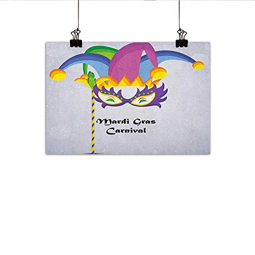 homehot Mardi Gras Art Oil Paintings Mardi Gras Carnival Inscription with Traditional Party Icons Clown Costume Hat Canvas Prints for Home Decorations 35