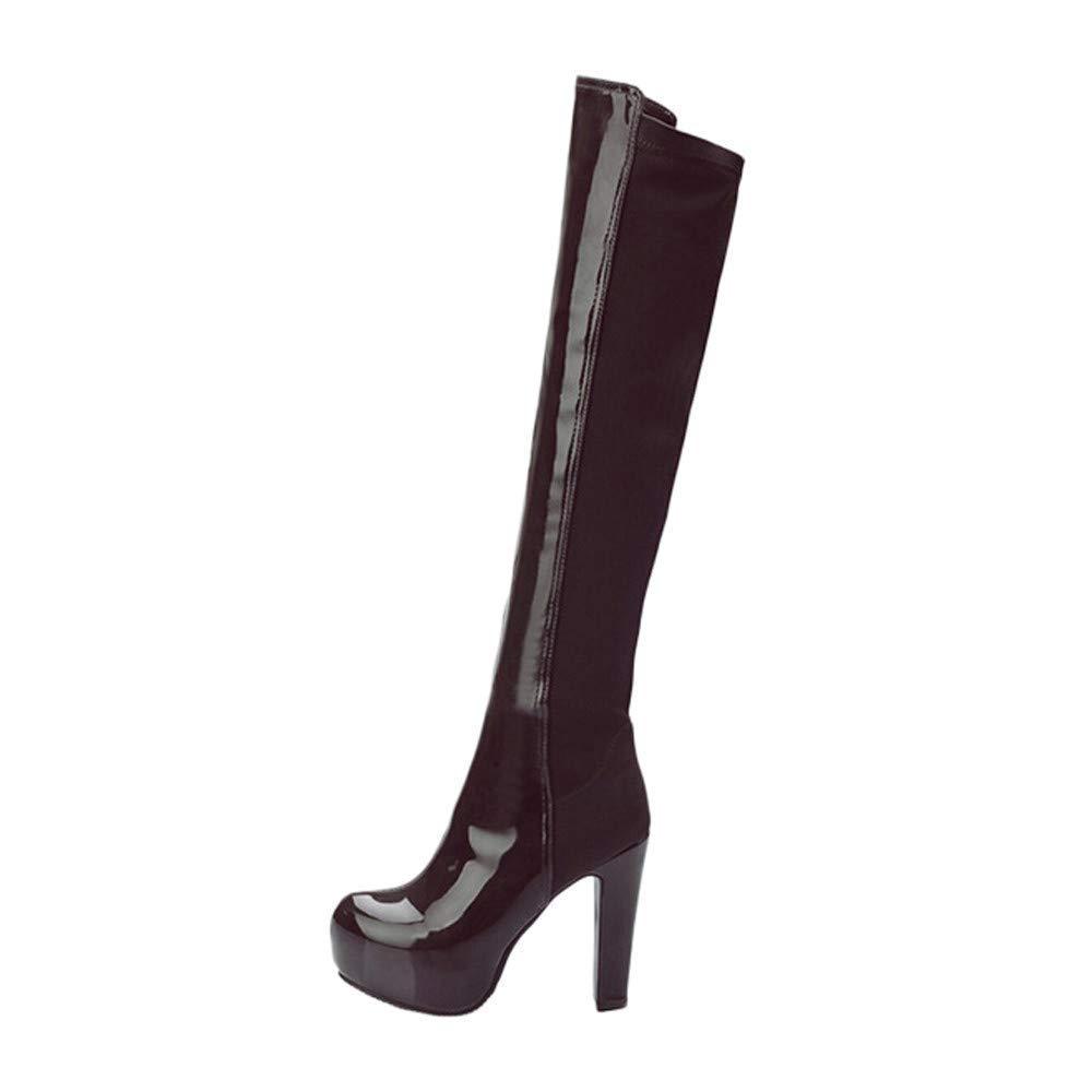 Qiusa Knie Oberschenkel Reißverschluss Stiefel für Frauen Schuhe 70er Jahre Goth Chukka Lace Martin Wüste Taktische Einlegesohlen hohe Blockabsatz Plattform Größe 3-10