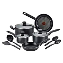 T-fal Simply Cook Nonstick C518SC Dishwasher Safe Cookware 12 Pc Set Black